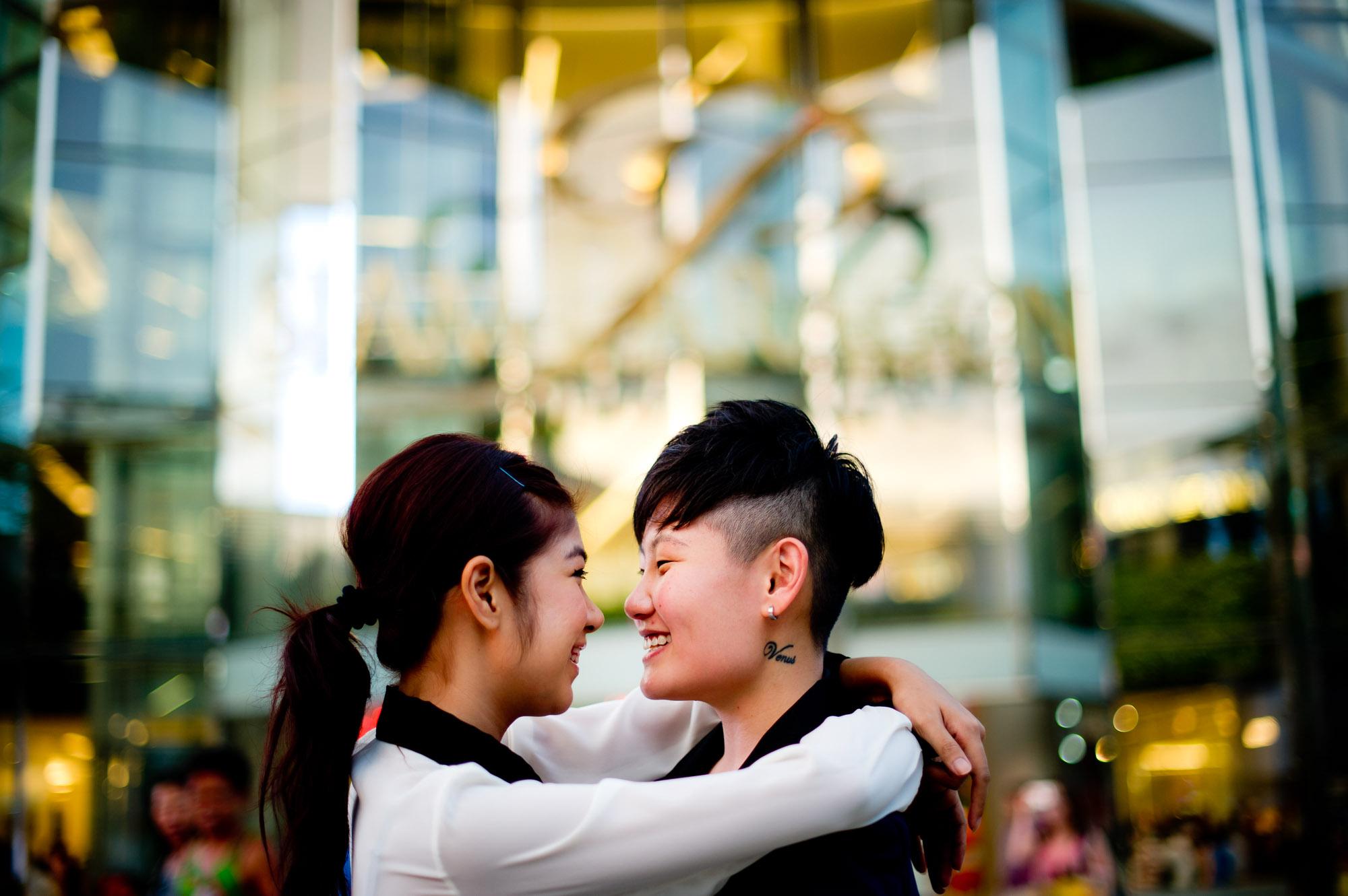 Pre-Wedding photo shoot of a lesbian couple at Siam in Bangkok.